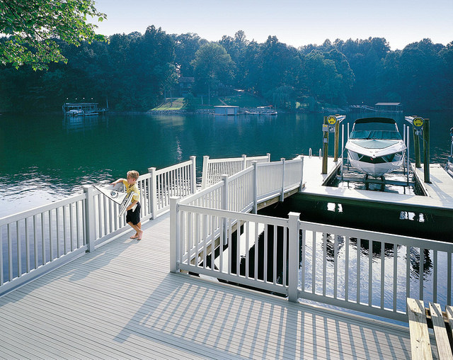 Outdoor decking by lake and boat dock