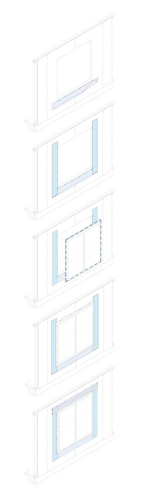 Flashing may be installed in 'weatherboard' fashion to help allow residual water entering the wall cavity to exit freely (see left). Accurate measurements can help safeguard against racking out of square and racking out of plumb—vinyl window installation is similar to the setting of traditional materials (see right).