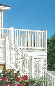 lastic railings and deck materials are available in a variety of configurations to suit many architectural styles.