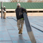 (XPS) Rigid Foam Insulation installed on a commercial roof