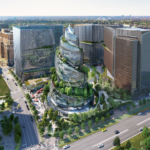 A rendering of Amazons proposed PenPlace headquarters campus